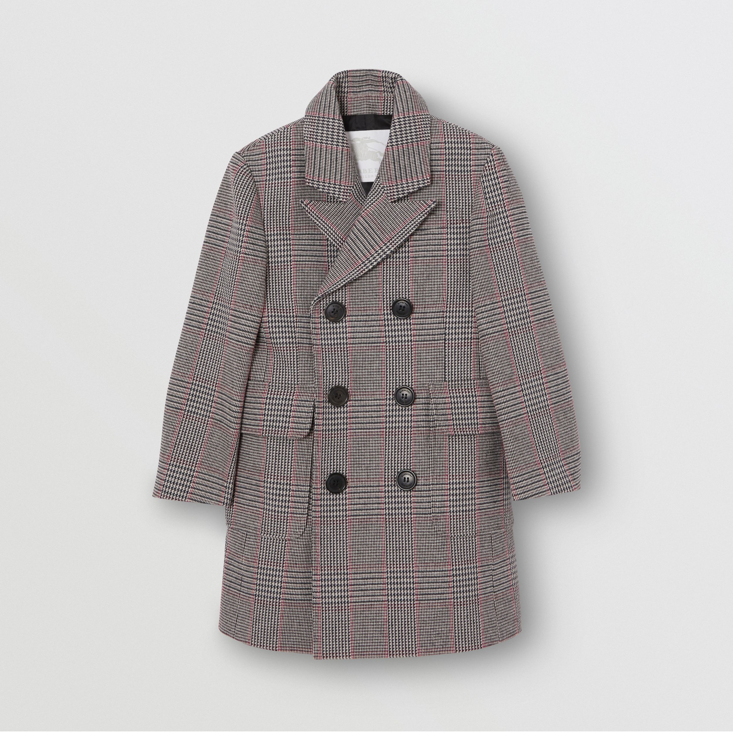 Prince of Wales Check Wool Cotton Blend Coat in Slate Blue Melange | Burberry - 1