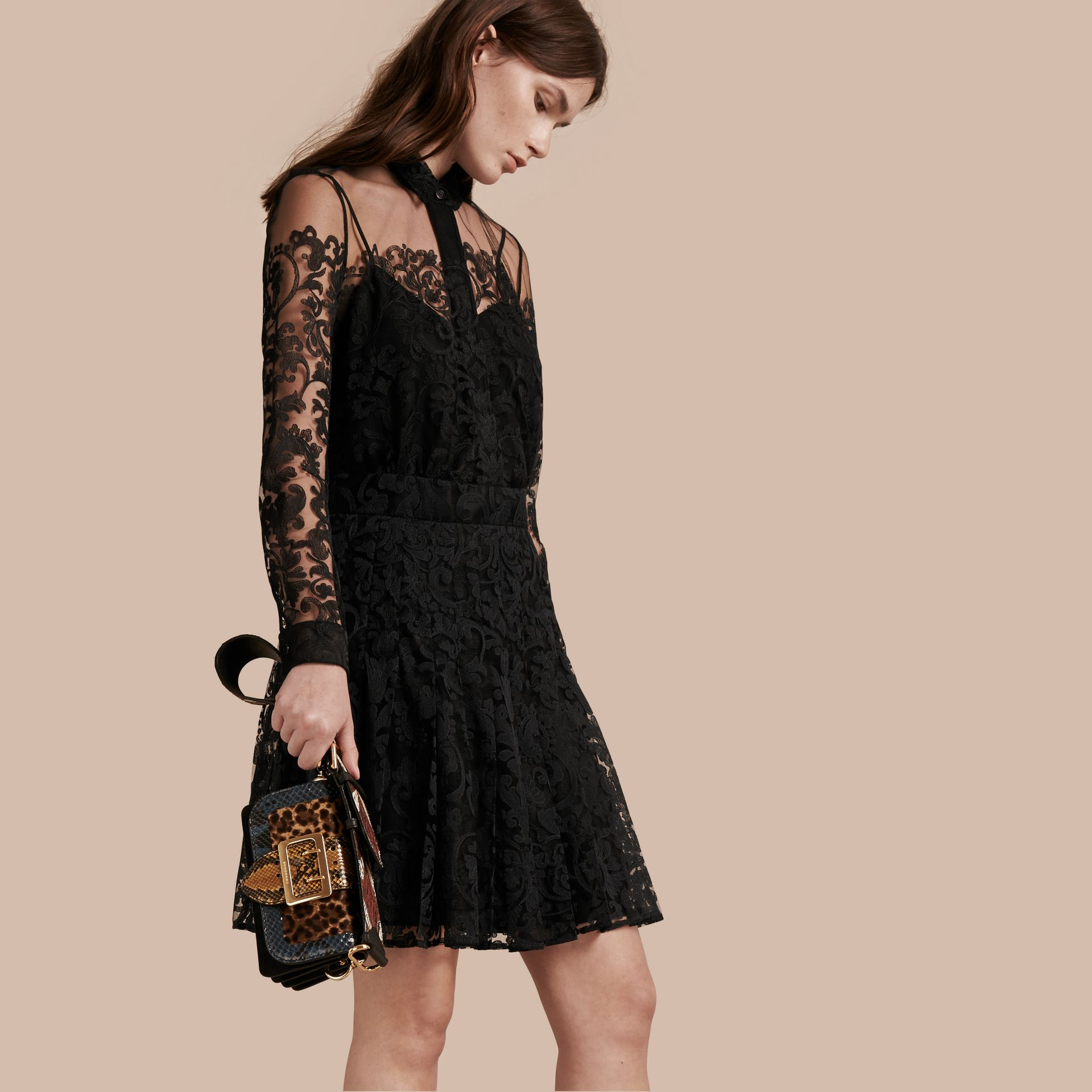 Black Lace Shirt Dress - gallery image 1
