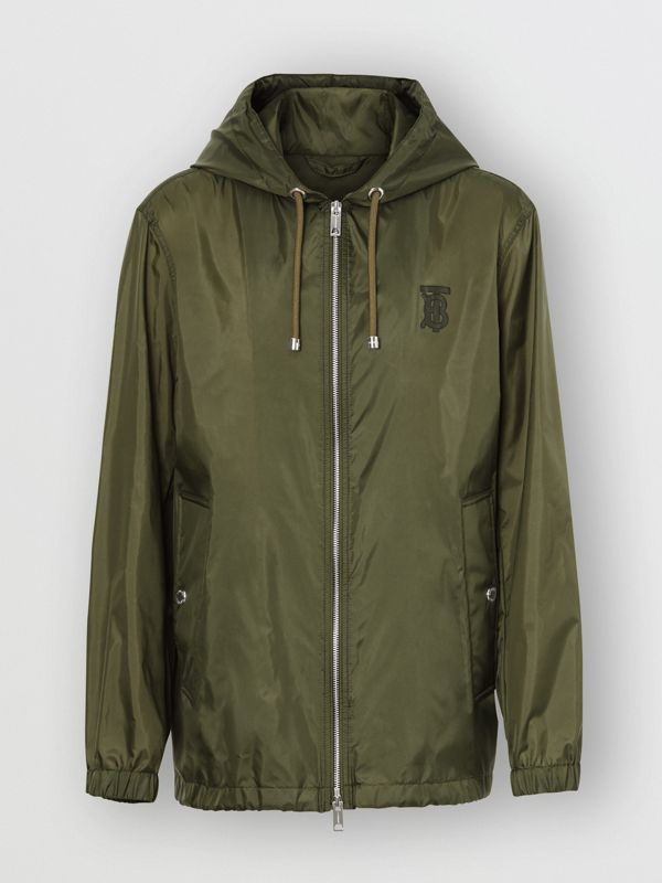 Monogram Motif Lightweight Hooded Jacket in Light Olive - Men | Burberry United Kingdom - cell image 3