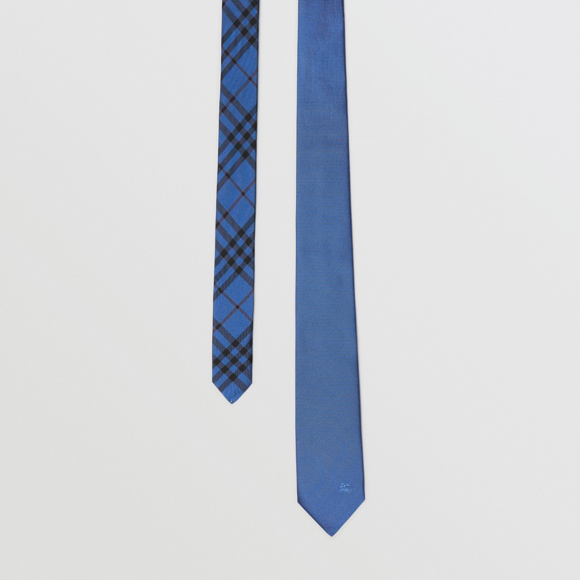 Modern Cut Check Detail Silk Tie in Bright Cobalt - Men | Burberry - gallery image 0