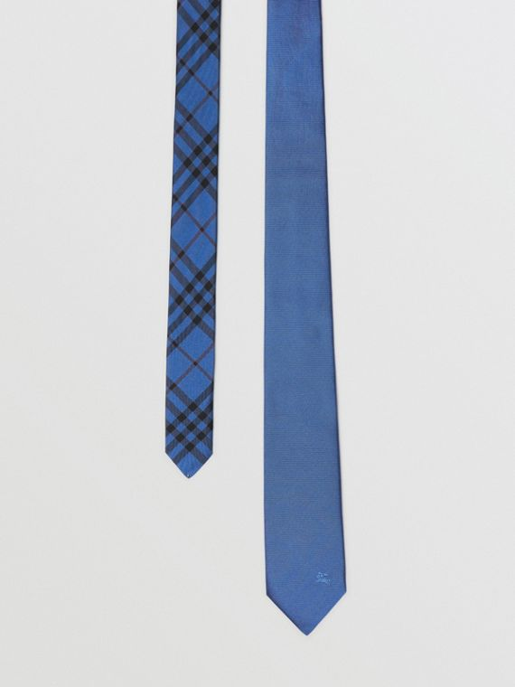 Modern Cut Check Detail Silk Tie in Bright Cobalt