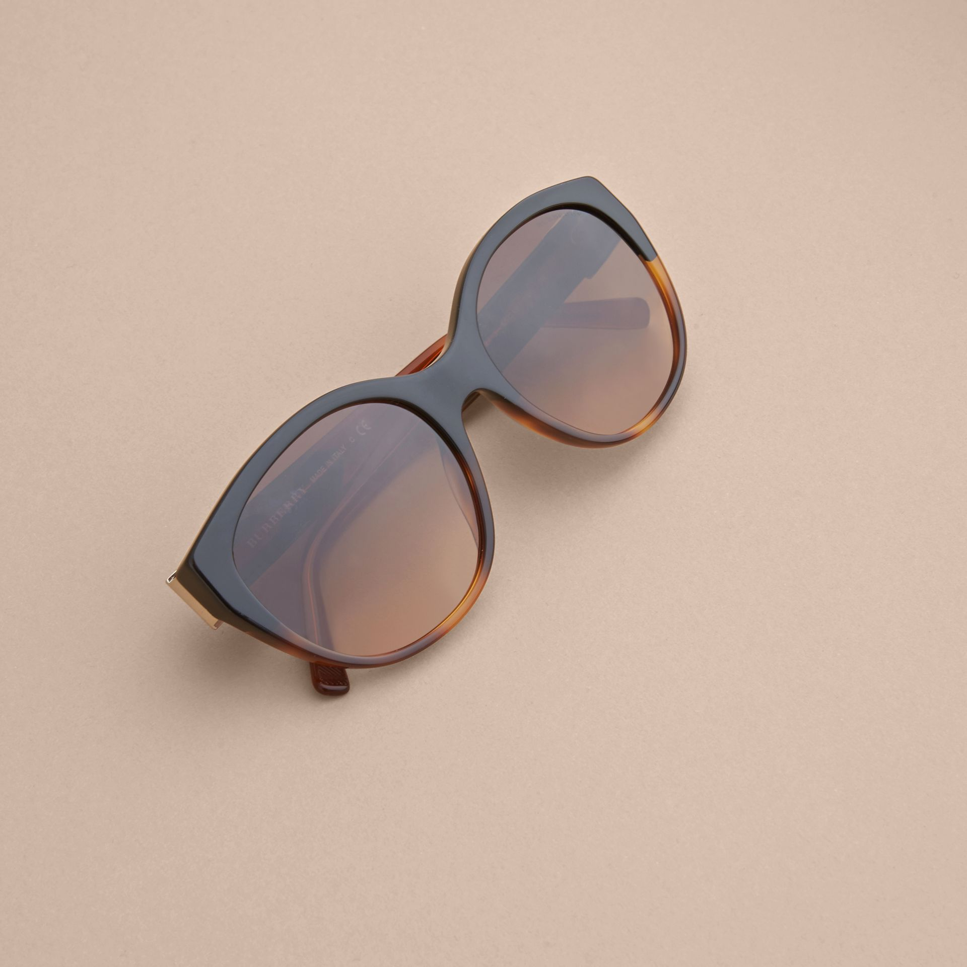 Buckle Detail Round Frame Sunglasses in Tortoise Amber - Women | Burberry United States - gallery image 5