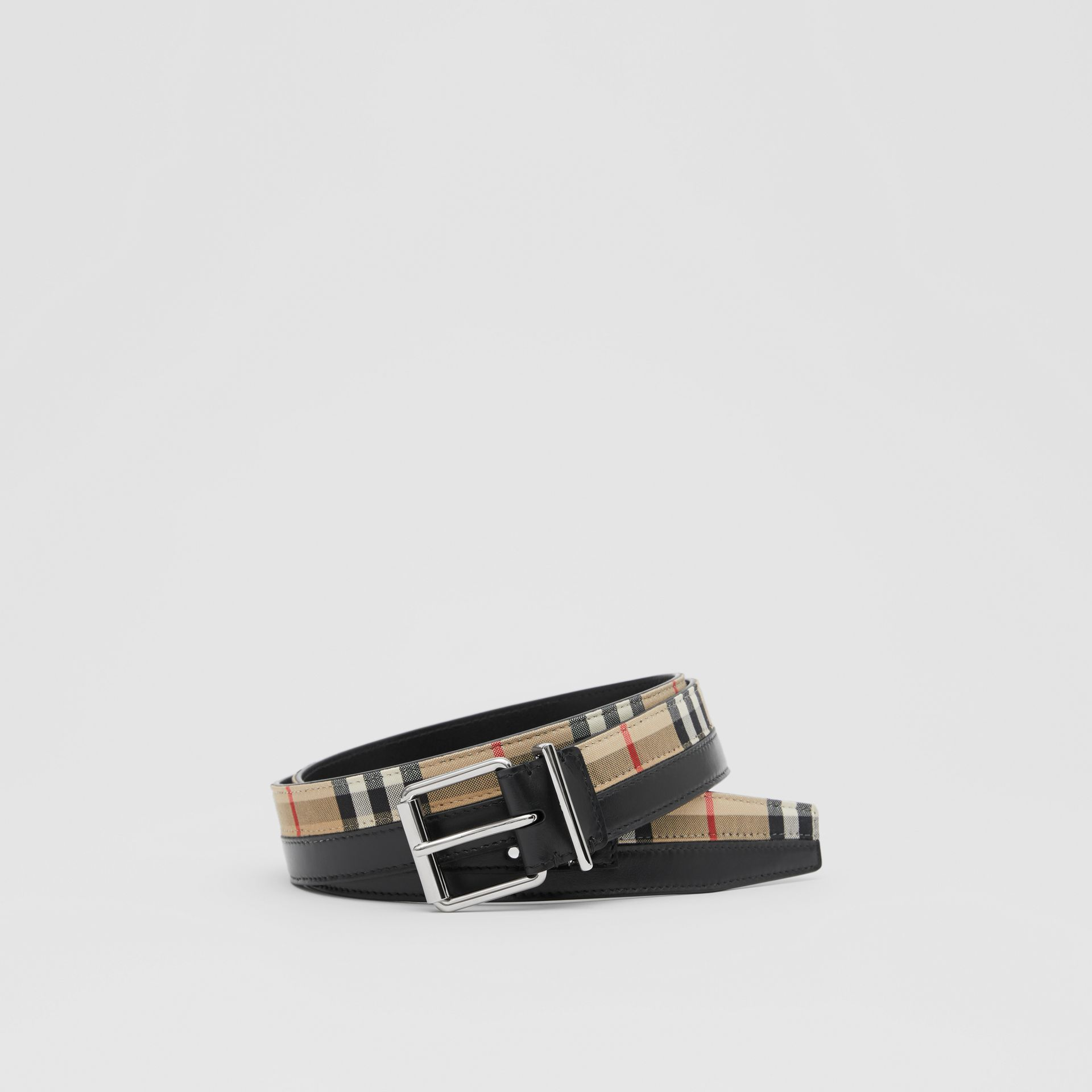Logo Print Vintage Check and Leather Belt in Archive Beige/black - Men | Burberry Hong Kong S.A.R - gallery image 0