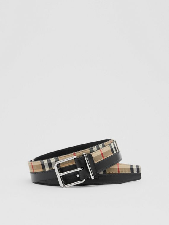 Logo Print Vintage Check and Leather Belt in Archive Beige/black