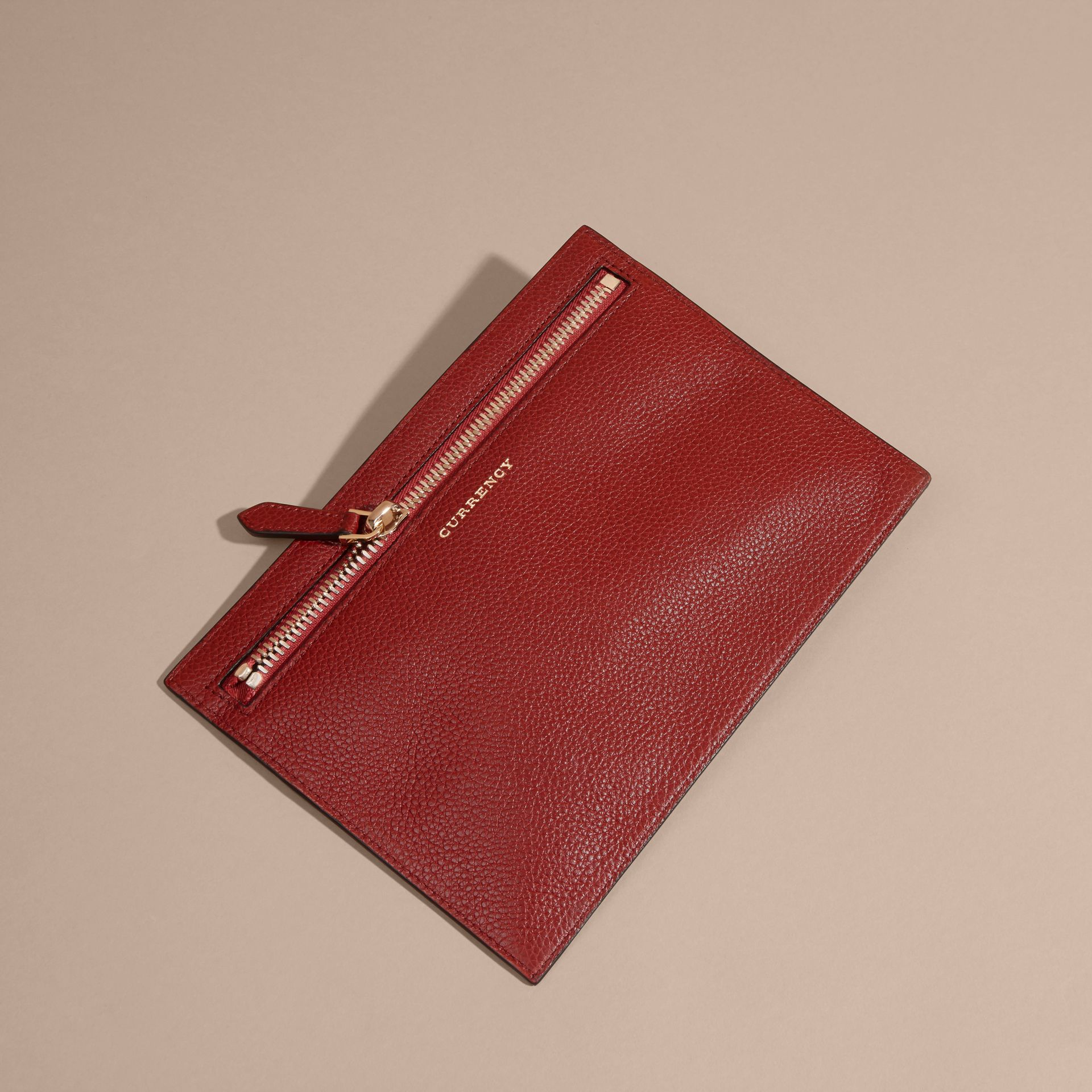 Grainy Leather Currency Wallet in Parade Red | Burberry United Kingdom - gallery image 3
