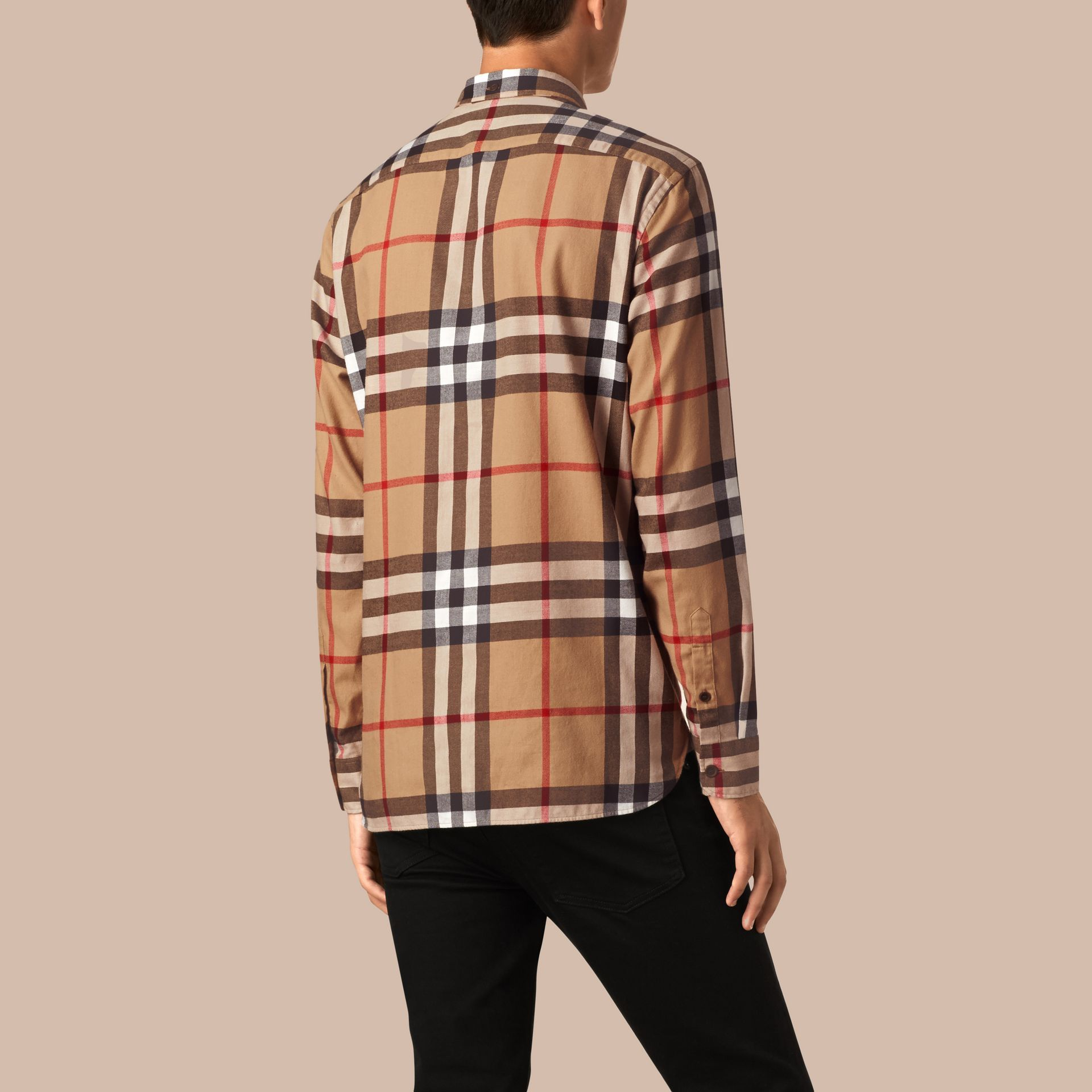 Camel Check Cotton Flannel Shirt Camel - gallery image 3