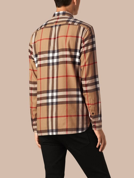 Camel Check Cotton Flannel Shirt Camel - cell image 2