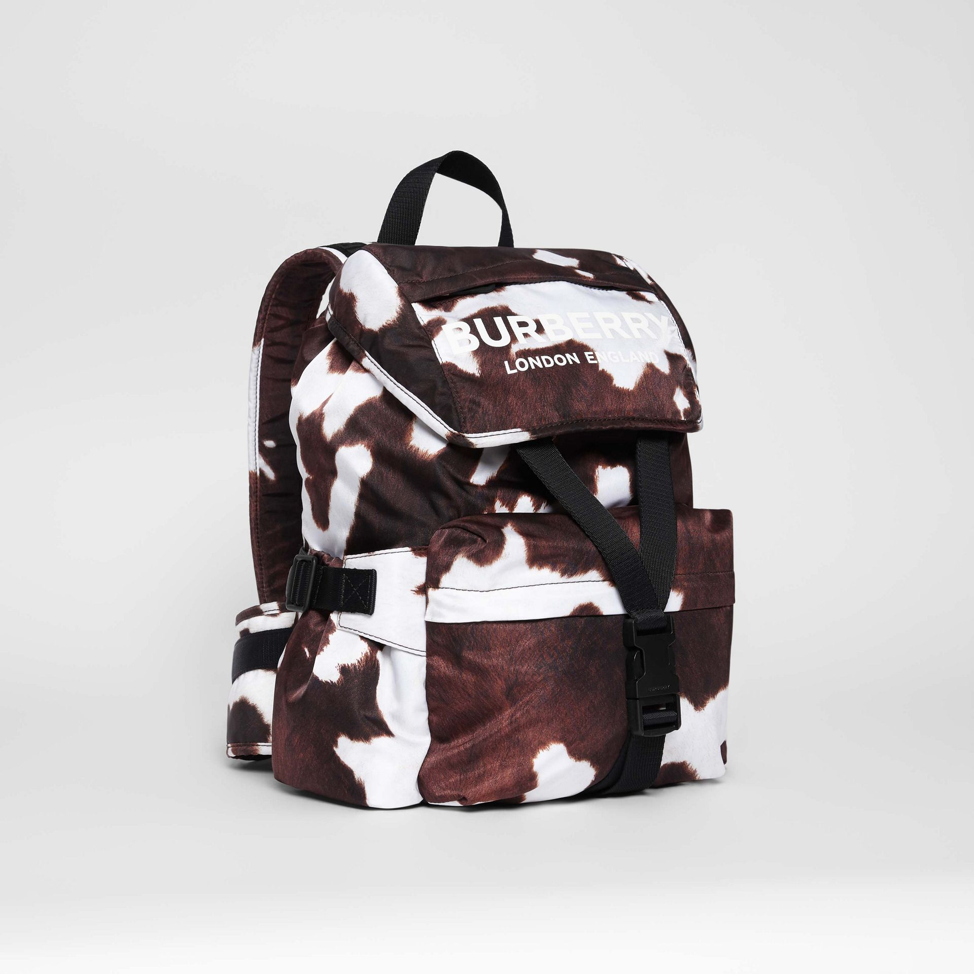 Cow Print Nylon Backpack in Mahogany - Women | Burberry United Kingdom - gallery image 6
