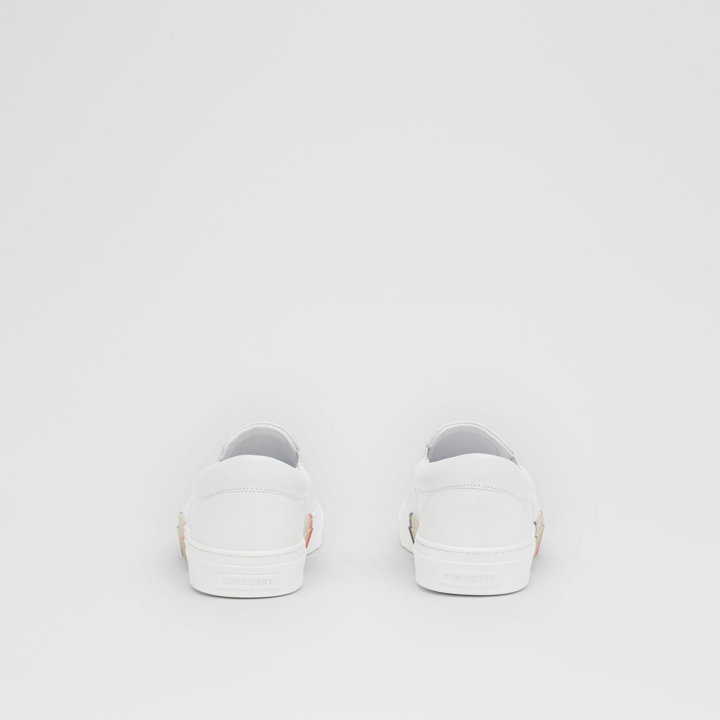 Bio-based Sole Leather Slip-on Sneakers in Optic White - Men | Burberry - 4