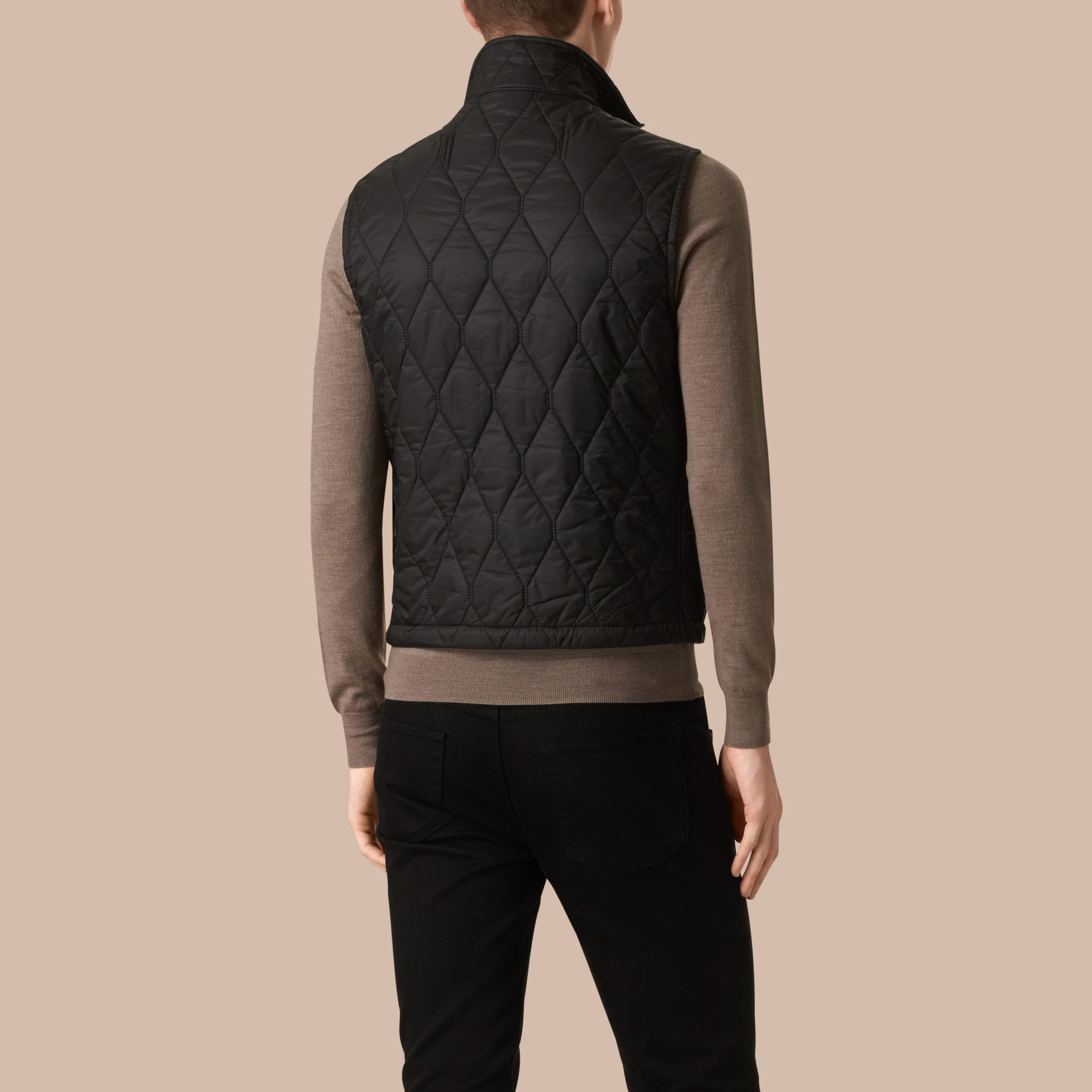 Black Multi-Pocket Diamond Quilted Gilet Black - gallery image 3