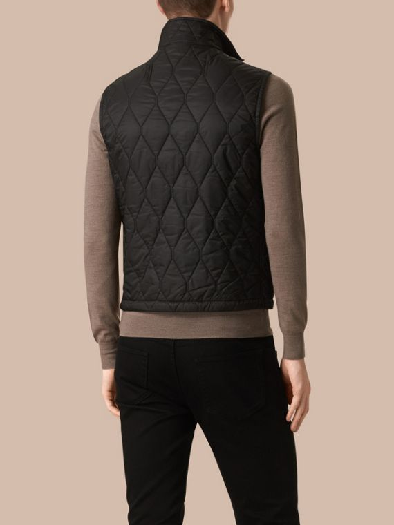 Black Multi-Pocket Diamond Quilted Gilet Black - cell image 2