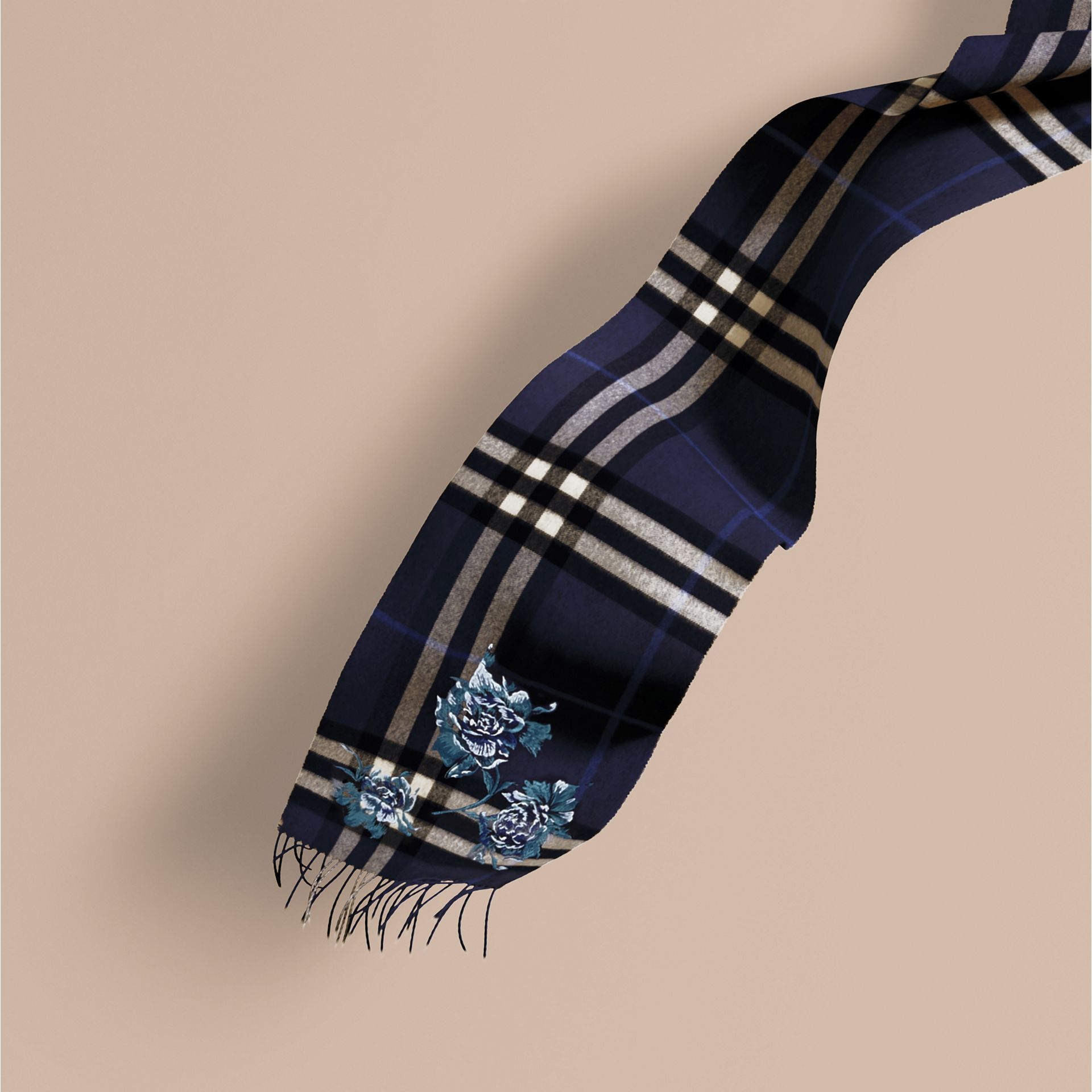 Indigo blue Oversize Peony Rose Embroidered Check Cashmere Scarf - gallery image 1