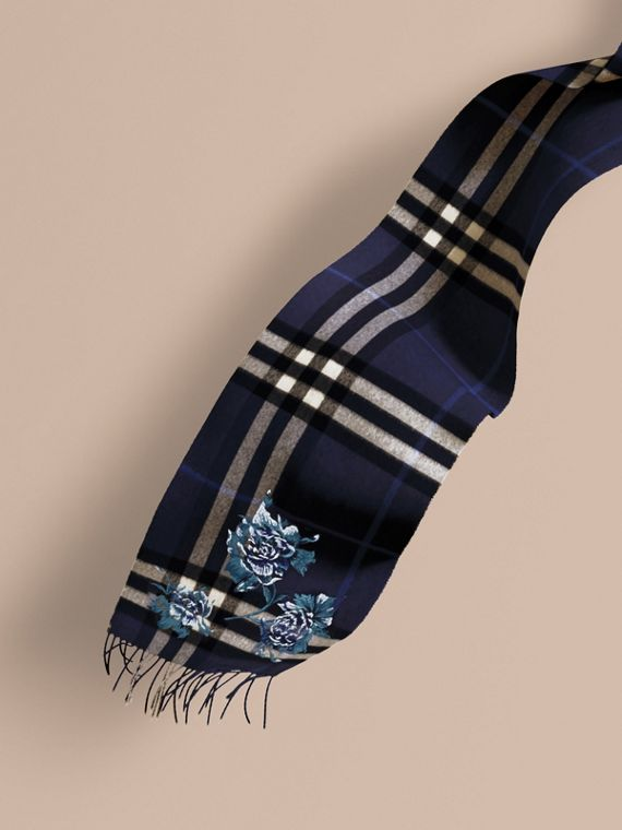 Oversize Peony Rose Embroidered Check Cashmere Scarf