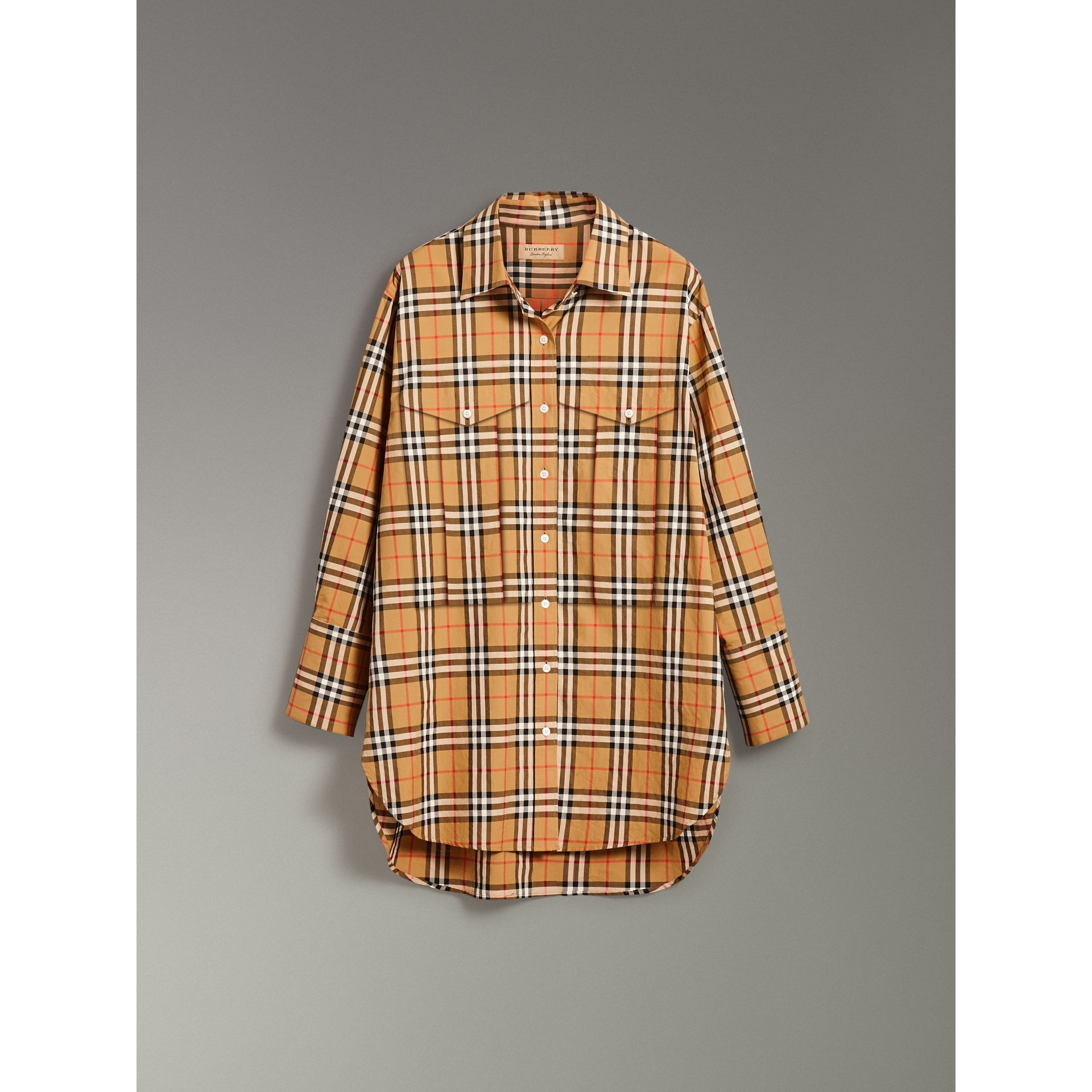 Vintage Check Cotton Shirt in Antique Yellow - Women | Burberry Australia - gallery image 3