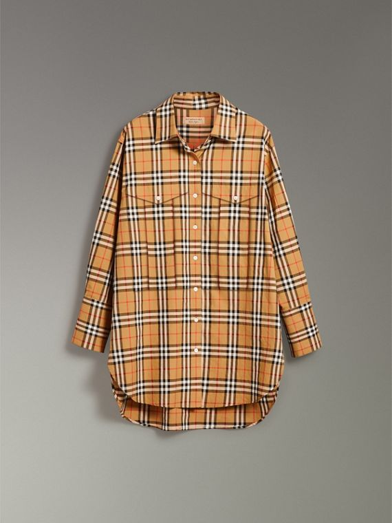 Vintage Check Cotton Shirt in Antique Yellow - Women | Burberry Australia - cell image 3