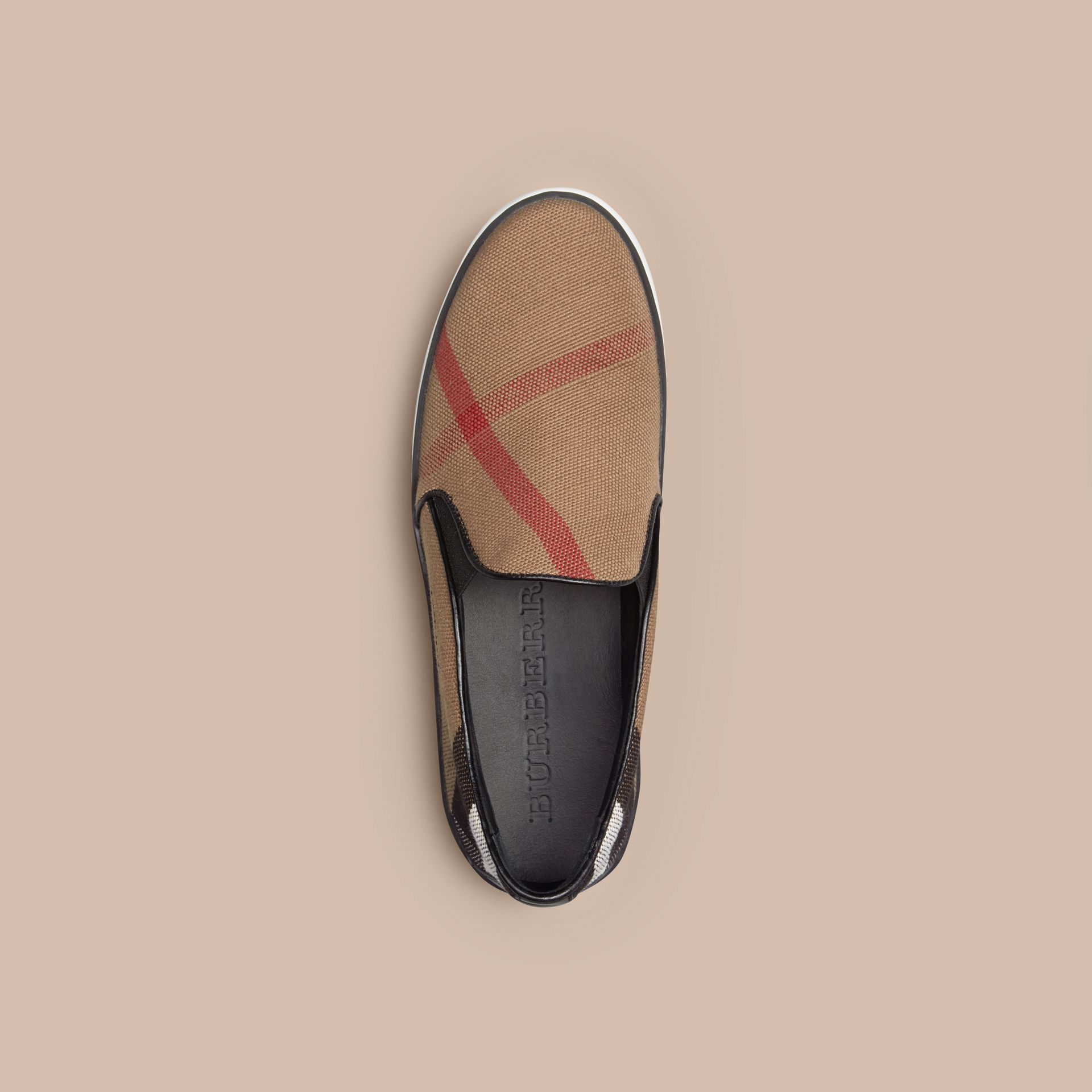 Canvas Check Slip-on Trainers - Women | Burberry - gallery image 3
