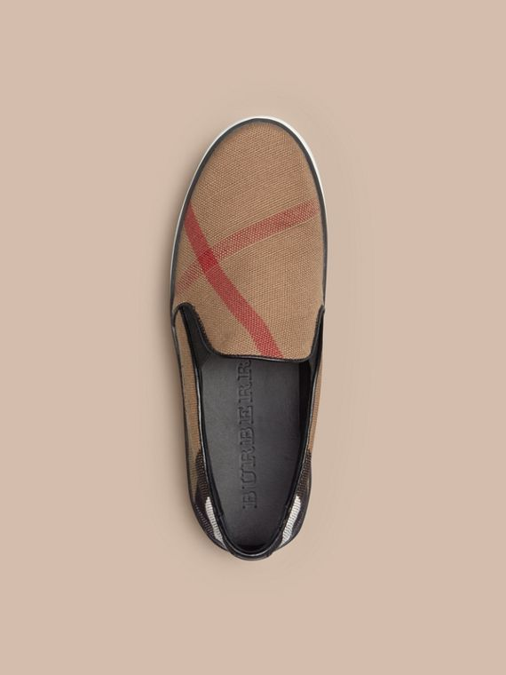 Canvas Check Slip-on Trainers in Black - Women | Burberry Canada - cell image 2