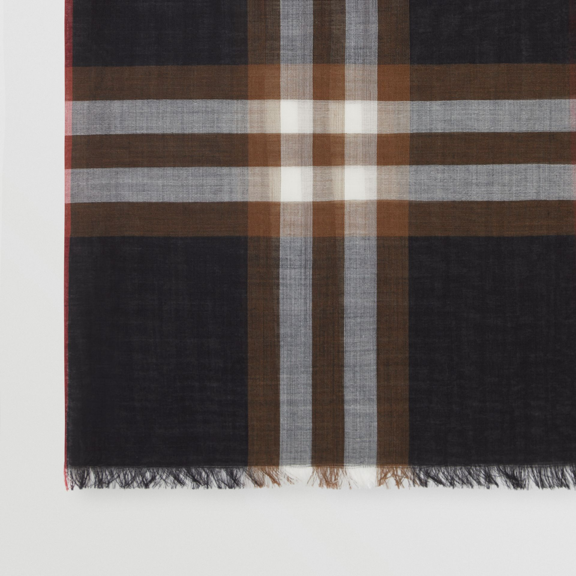 Lightweight Check Wool Silk Scarf in Black / Brown | Burberry United Kingdom - gallery image 1