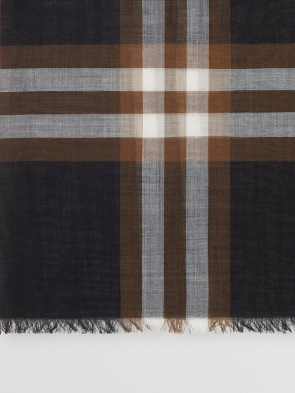 Lightweight Check Wool Silk Scarf in Black/brown | Burberry - cell image 1