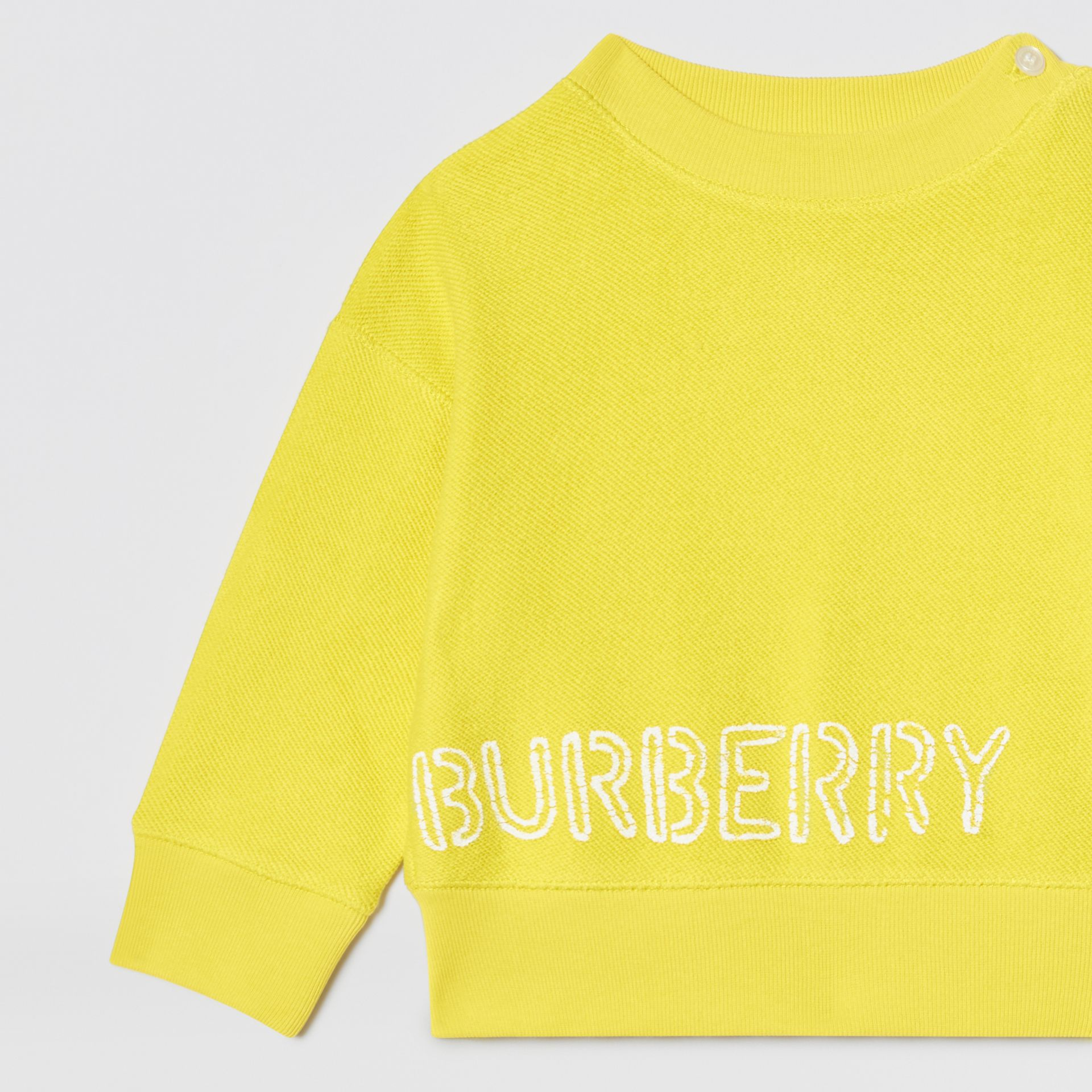 Stencil Logo Print Cotton Sweatshirt in Citron - Children | Burberry - gallery image 5