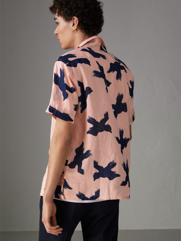 Short-sleeve Bird Print Linen Shirt in Apricot Pink - Men | Burberry - cell image 2