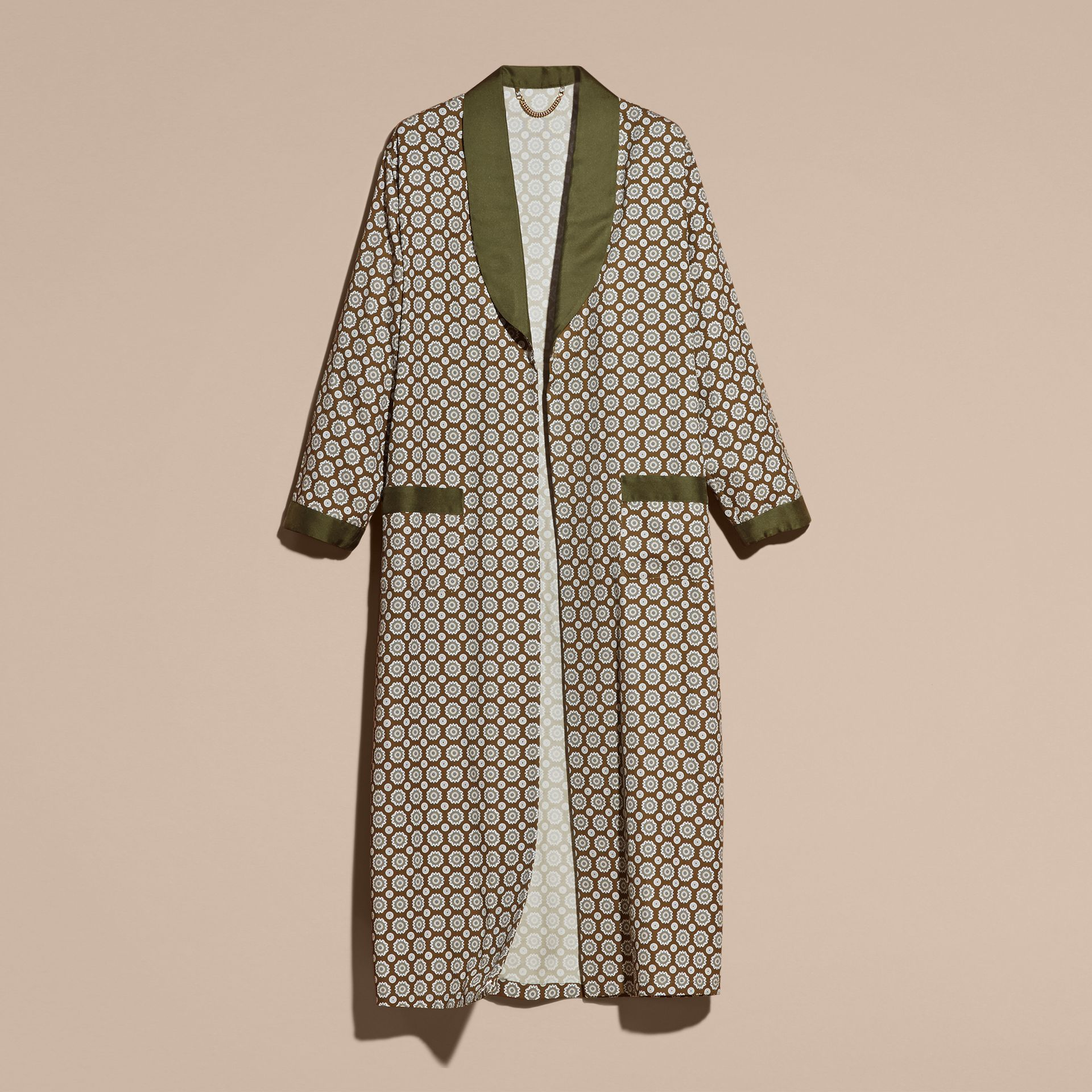 Yellow olive Geometric Print Silk Cotton Dressing Gown Coat - gallery image 4