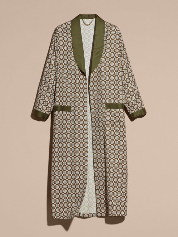 Yellow olive Geometric Print Silk Cotton Dressing Gown Coat - cell image 3