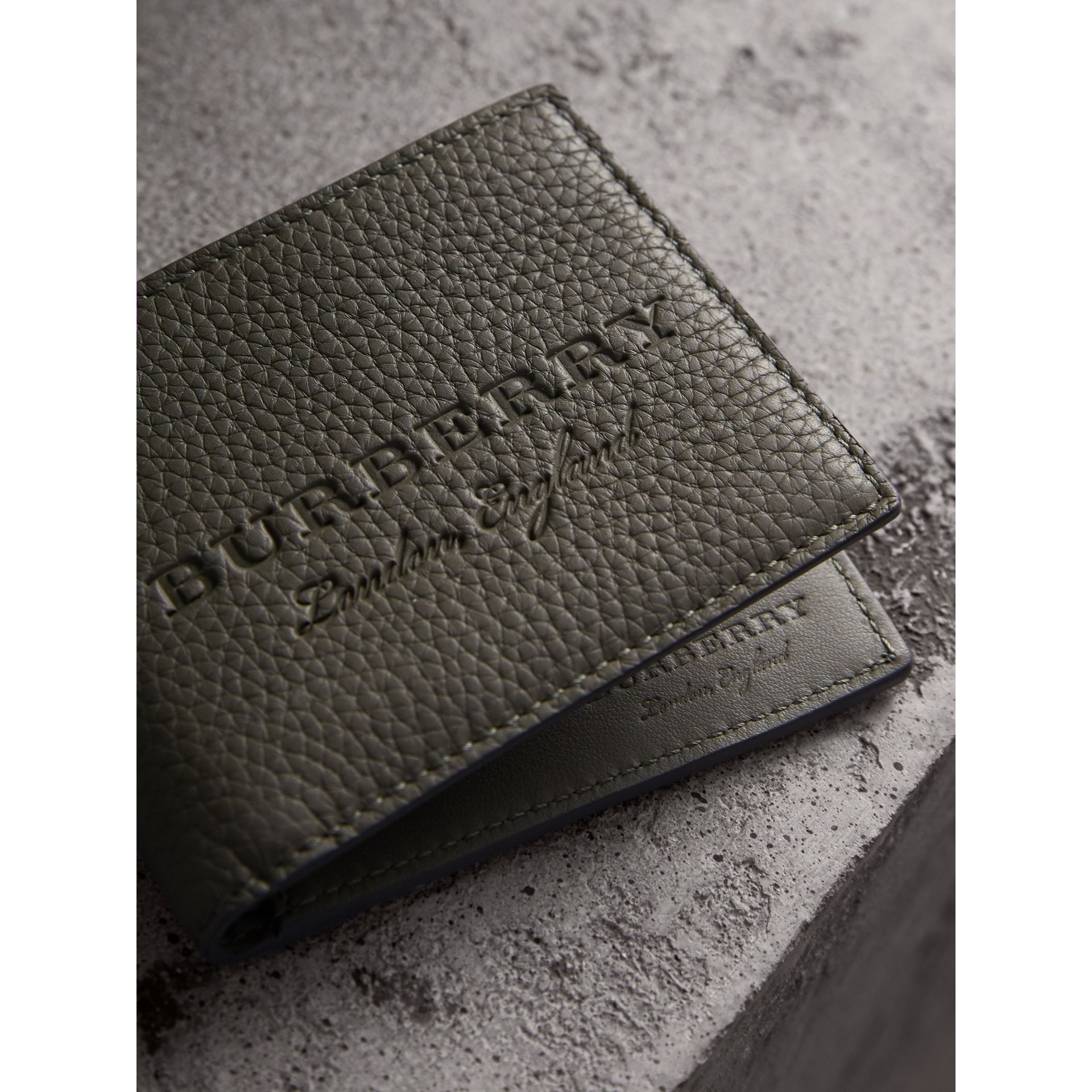 Textured Leather Bifold Wallet in Slate Green - Men | Burberry United Kingdom - gallery image 2