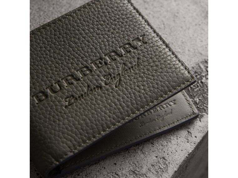 Textured Leather Bifold Wallet in Slate Green - Men | Burberry United Kingdom - cell image 1