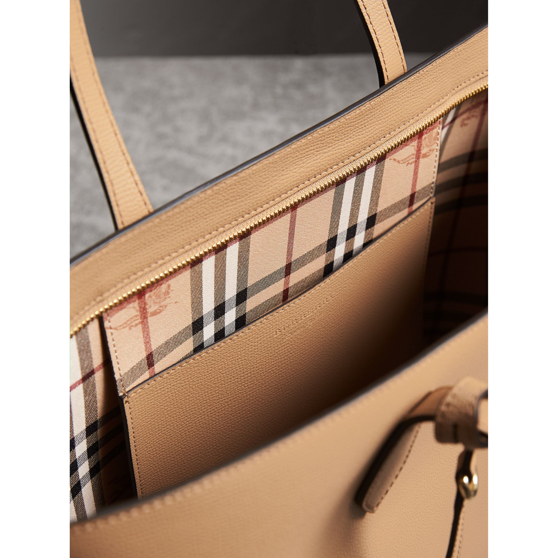 Medium Coated Leather Tote in Mid Camel - Women | Burberry Australia - gallery image 5