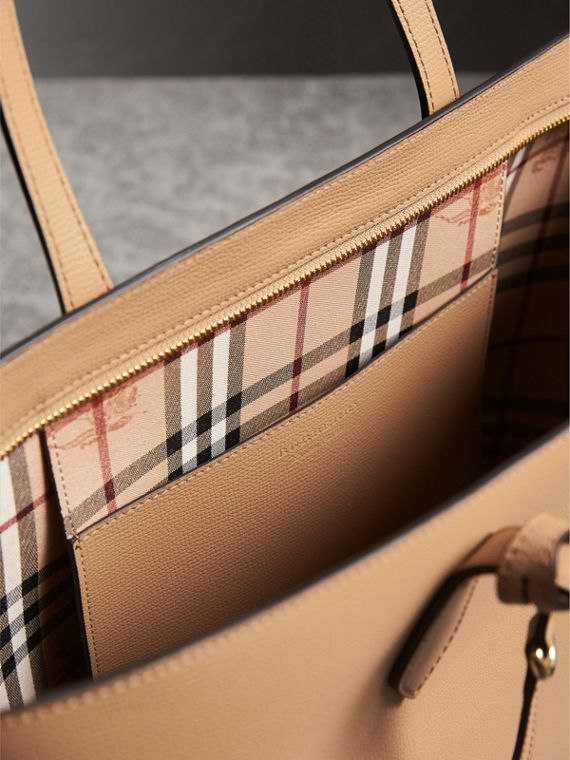 Medium Coated Leather Tote in Mid Camel - Women | Burberry - cell image 3