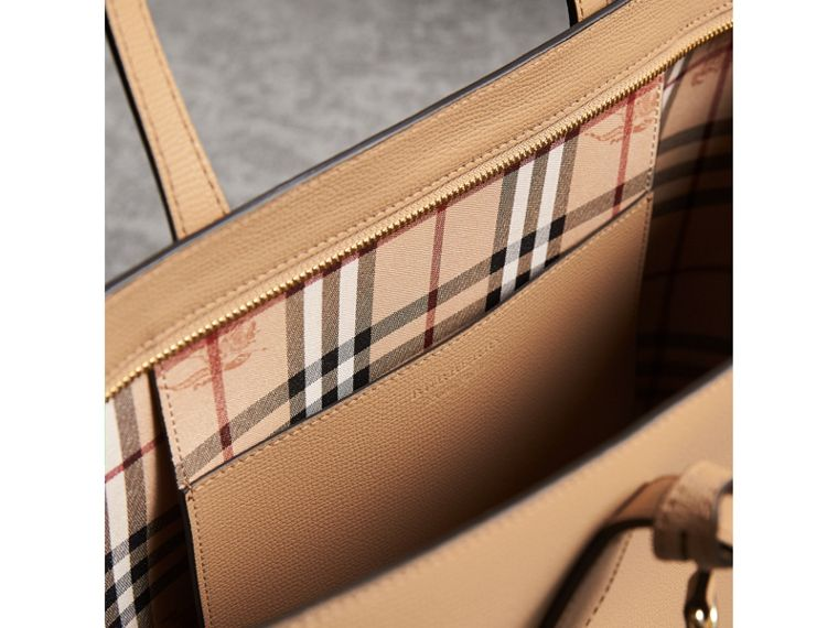 Medium Coated Leather Tote in Mid Camel - Women | Burberry Australia - cell image 4