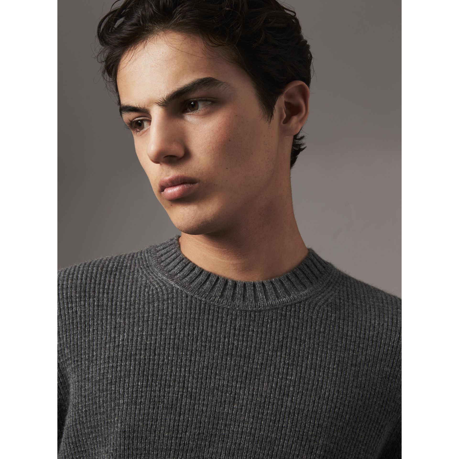 Waffle Knit Cashmere Sweater in Dark Grey Melange - Men | Burberry - gallery image 2