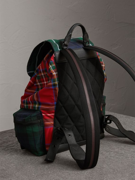 The Large Rucksack in Patchwork Tartan in Military Red | Burberry - cell image 3