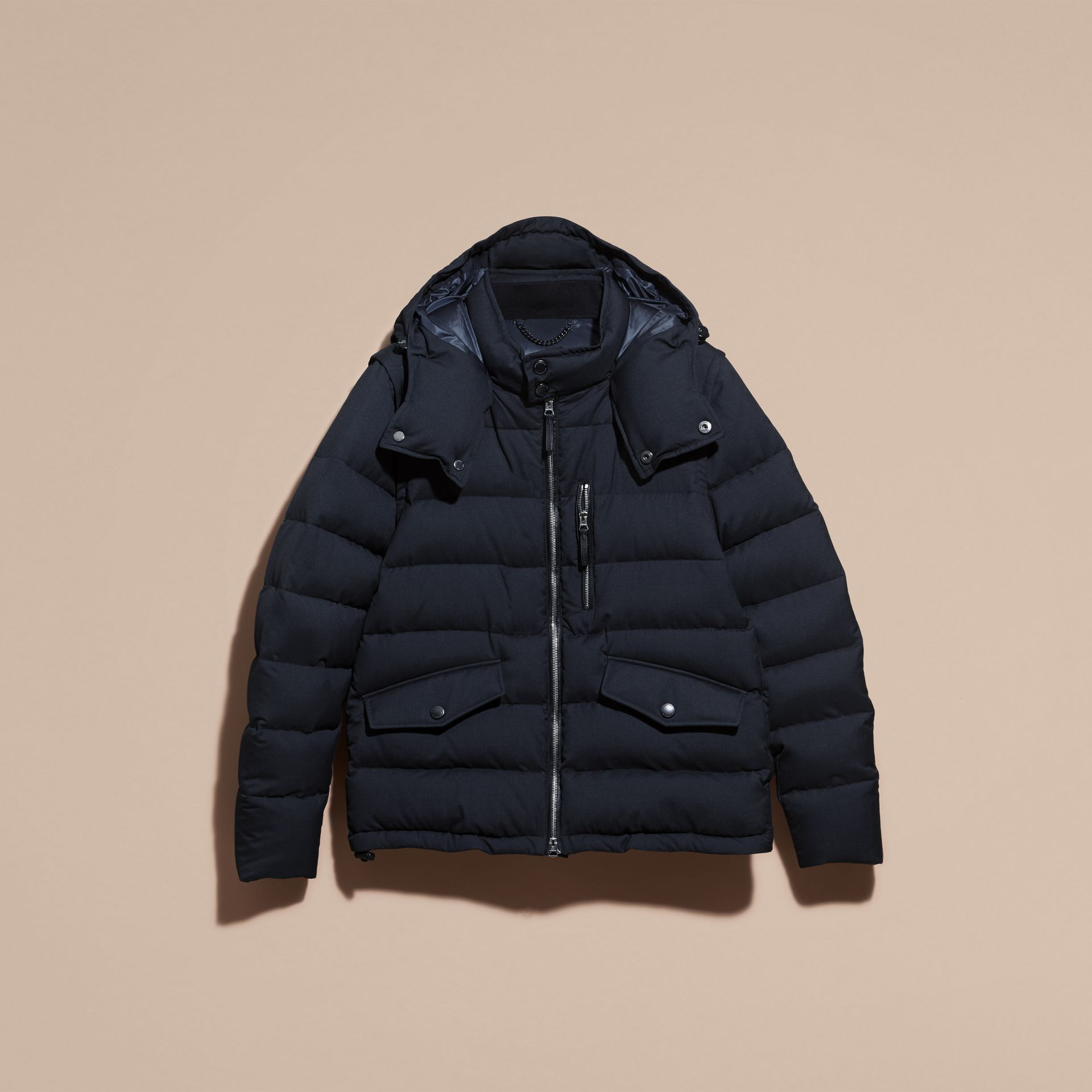 Navy Down-filled Silk Wool Puffer Jacket - gallery image 5