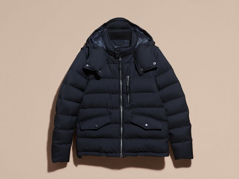 Navy Down-filled Silk Wool Puffer Jacket - cell image 4
