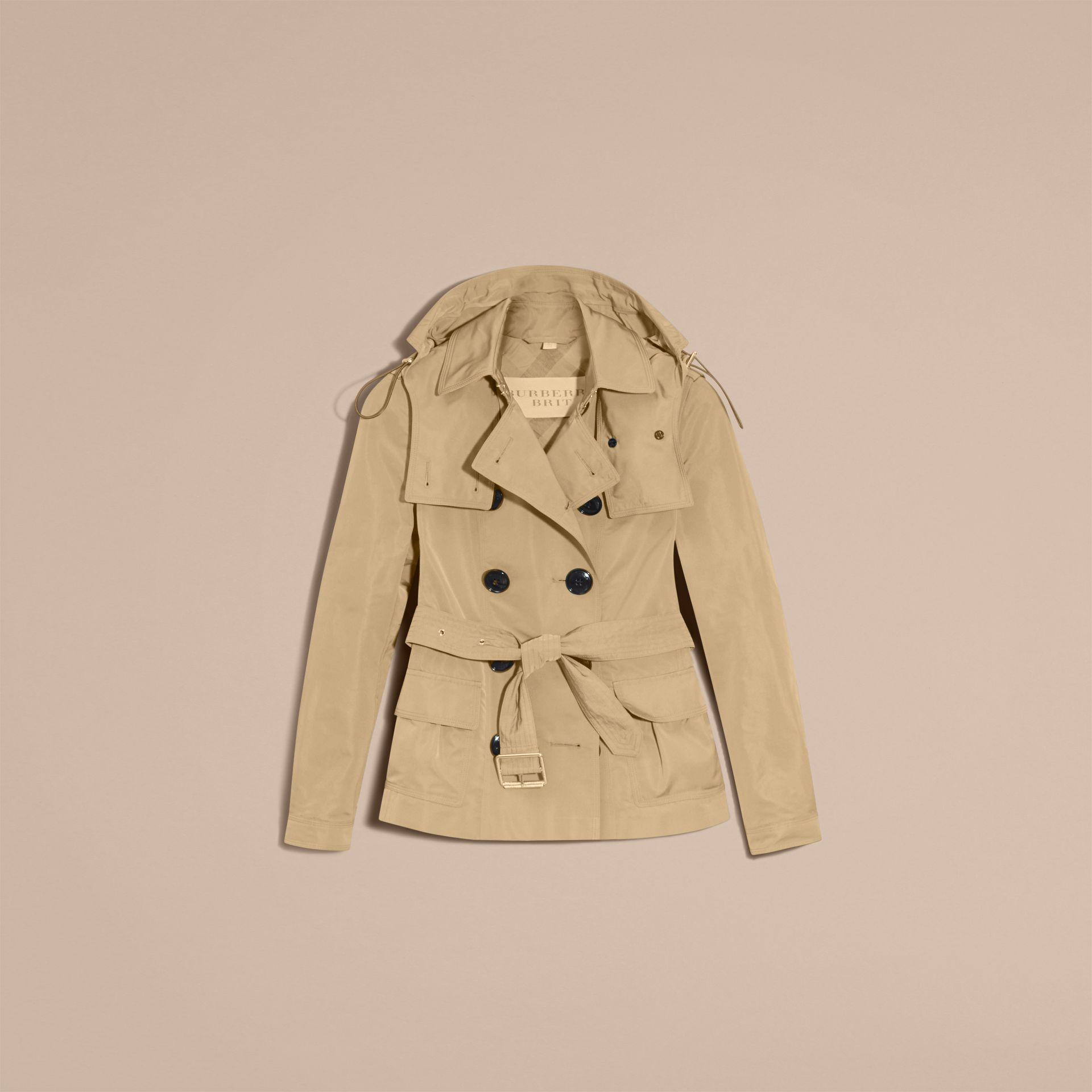 Showerproof Taffeta Trench Jacket with Detachable Hood in Honey - gallery image 4
