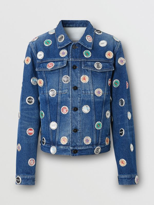 Bottle Cap Detail Stonewashed Denim Jacket in Indigo Blue - Men | Burberry - cell image 3