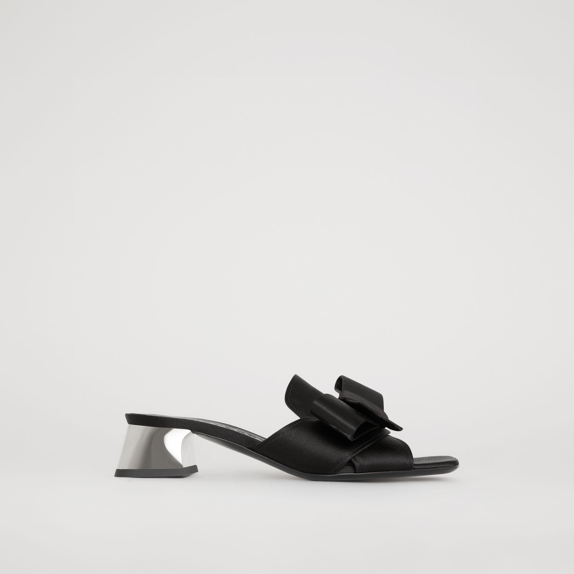 Bow Detail Satin Block-heel Mules in Black - Women | Burberry - gallery image 0
