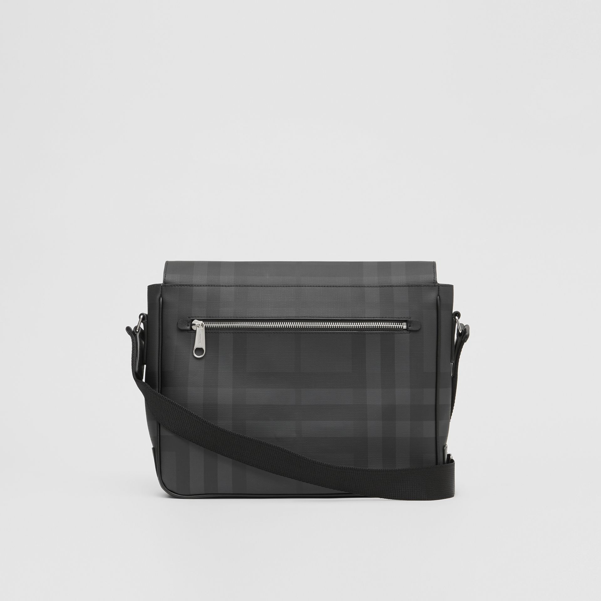 London Check and Leather Satchel in Dark Charcoal - Men | Burberry - gallery image 7