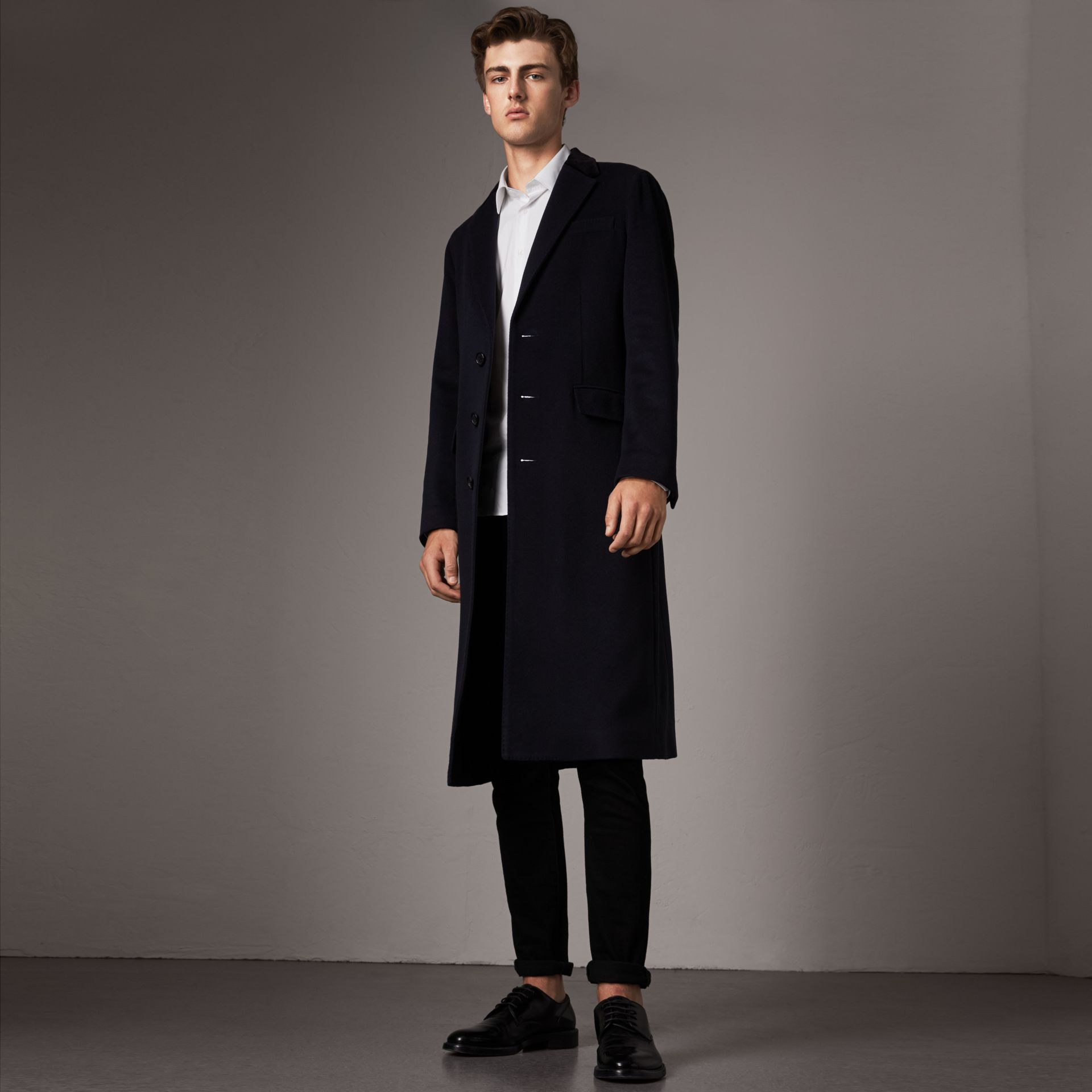 Velvet Collar Wool Cashmere Coat in Navy - Men | Burberry United Kingdom - gallery image 0