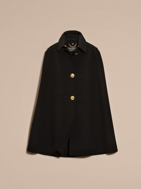 Black Double Cashmere Military Cape - cell image 3