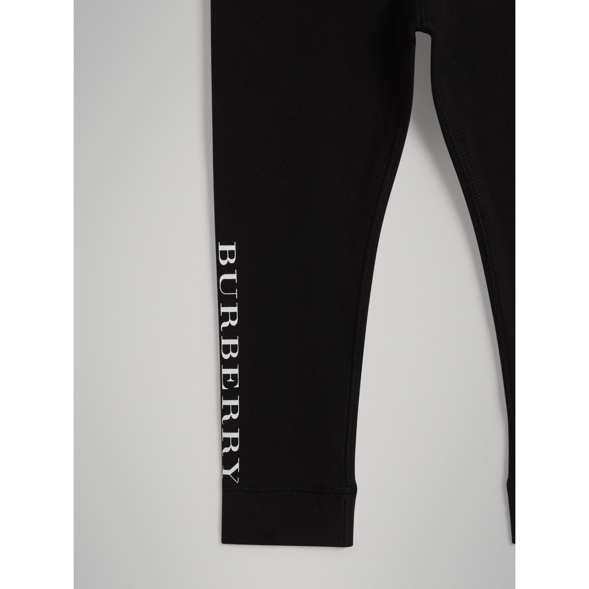 Logo Detail Stretch Cotton Leggings in Black | Burberry Hong Kong - gallery image 4