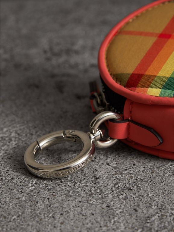 Rainbow Vintage Check Coin Case in Bright Peony | Burberry - cell image 1