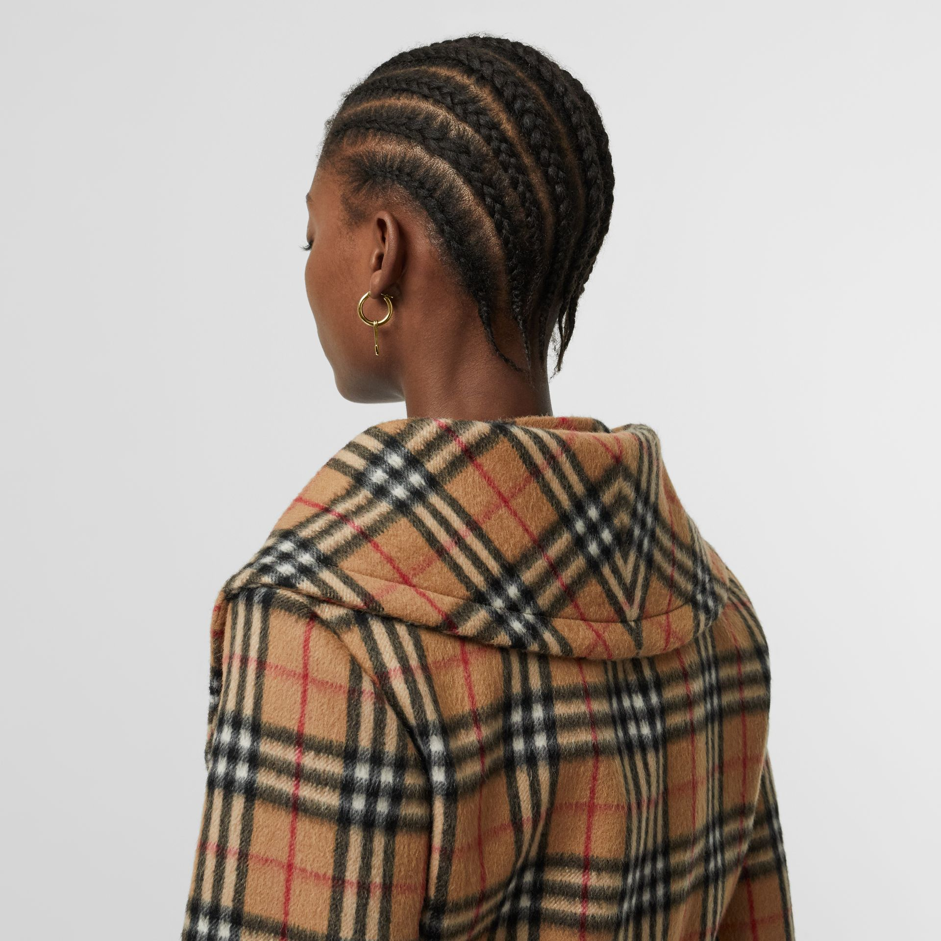 Vintage Check Alpaca Wool Hugger Jacket in Antique Yellow - Women | Burberry Australia - gallery image 5