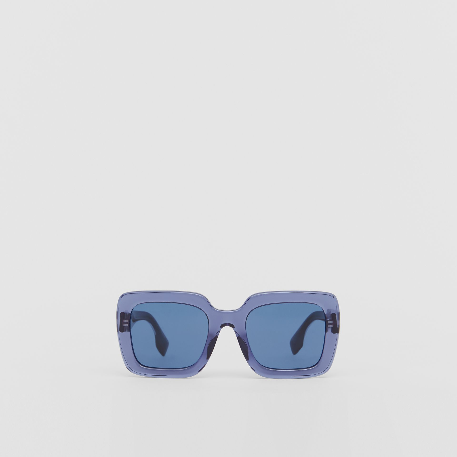 Oversized Square Frame Sunglasses in Blue - Women | Burberry United Kingdom - gallery image 0