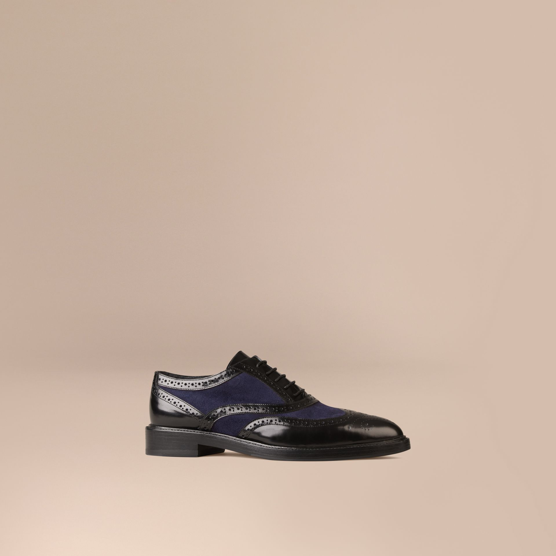 Navy Leather and Suede Wingtip Brogues - gallery image 1