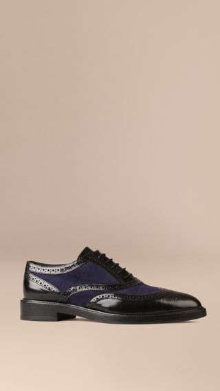 Leather and Suede Wingtip Brogues