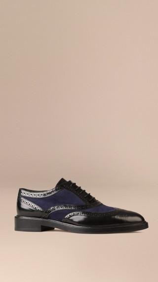 Chaussures Richelieu en cuir et daim avec bout golf