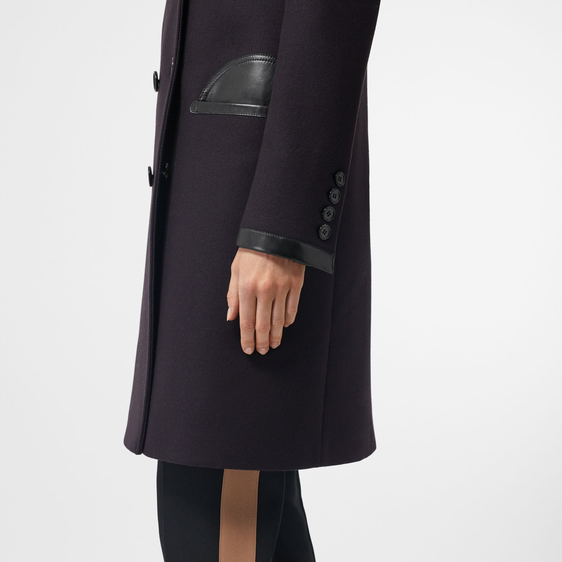 Lambskin Trim Wool Cashmere Blend Tailored Coat in Black Maroon - Women | Burberry - gallery image 3
